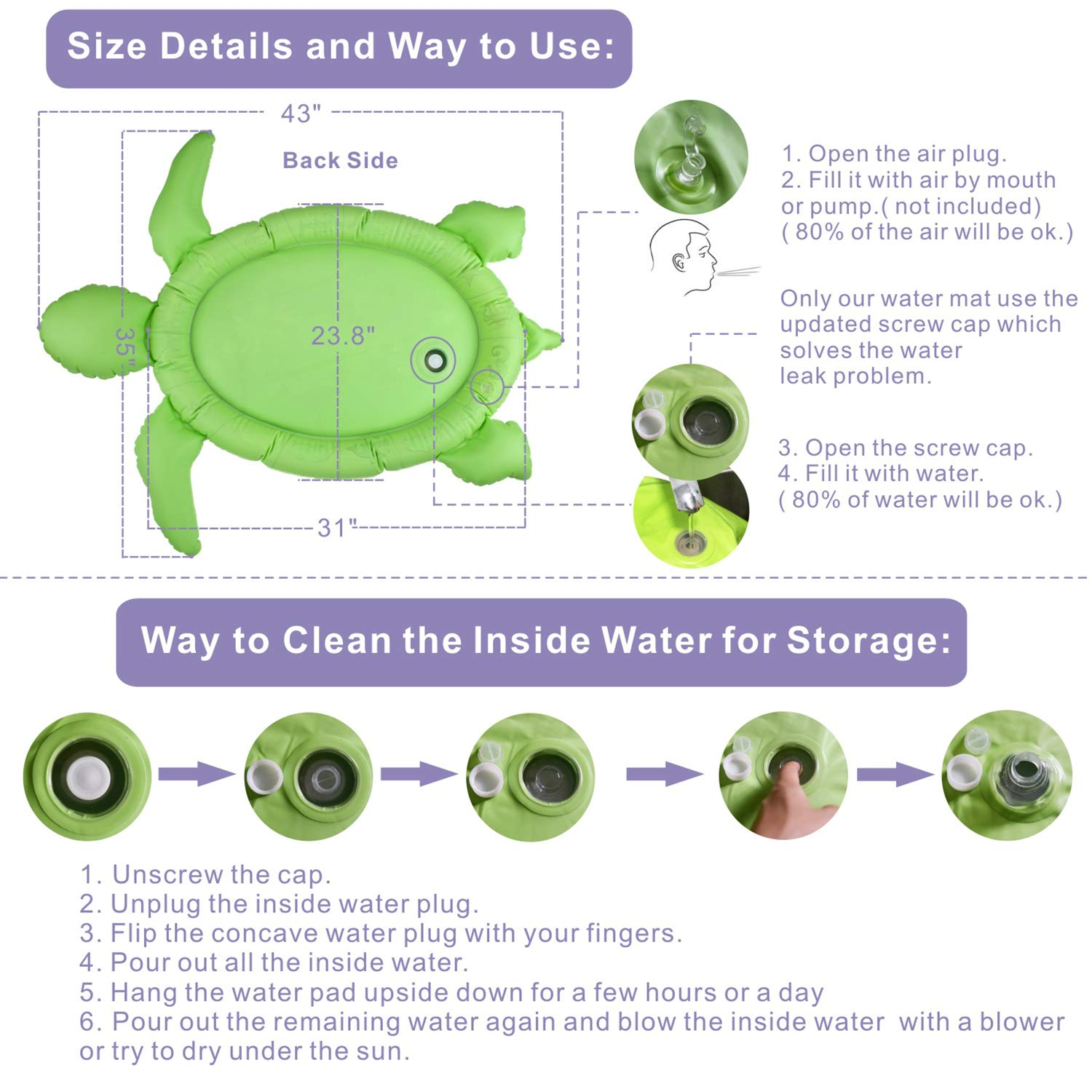 INFLATABLE TUMMY TIME WATER MAT SEA TURTLE SHAPE INFANTS TODDLERS PLAY MAT TOY